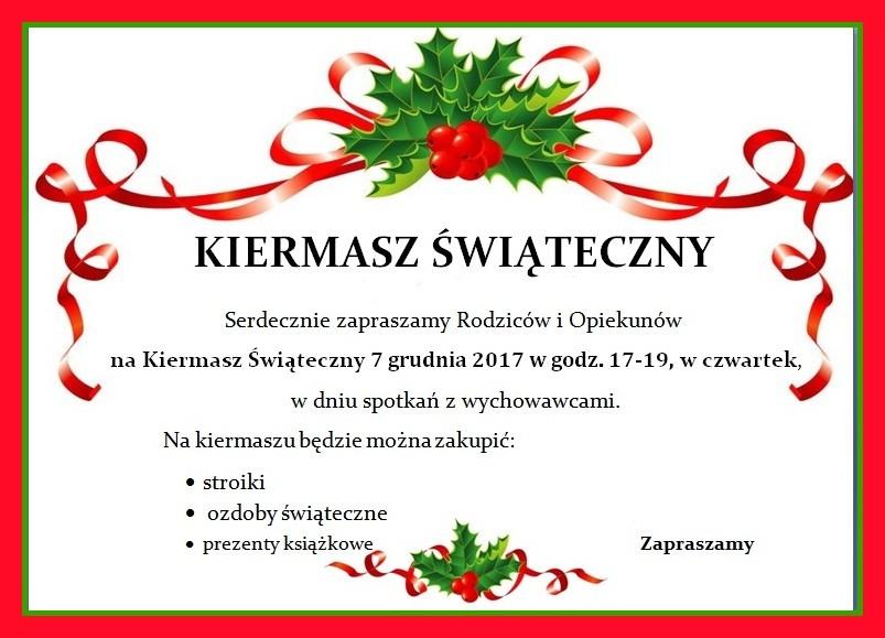 Zapraszamy na kiermasz świąteczny